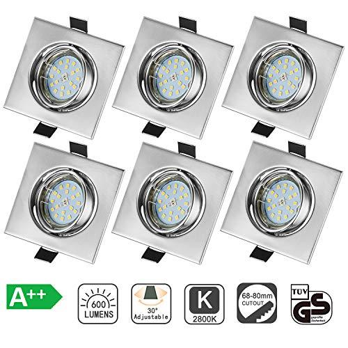 Bojim Pack de 6x 6W Foco Empotrable LED GU10 Blanco Cálido 2800K,...