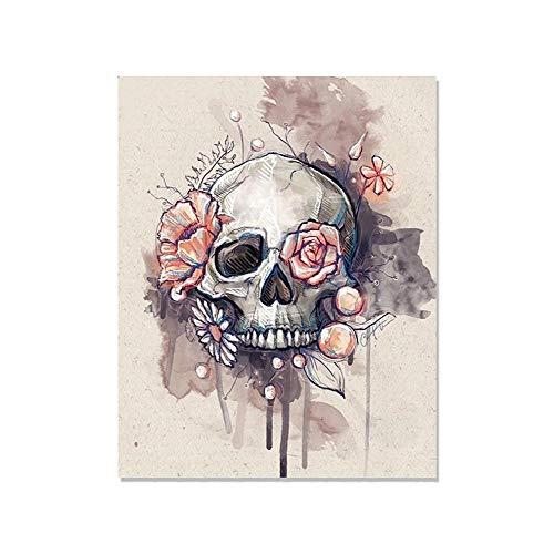 5D DIY Diamond Painting Crystal Strass Stickerei Bilder Handwerk für Halloween Geschenke Zuhause Mauer Decor, 30X40cm, Blume und Schädel