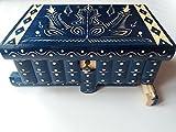 Enorme scatola di puzzle blu gigante scatola di gioielli magica premium regalo del tesoro nuova scatola molto grande caso mistero a mano scolpito in legno di stoccaggio