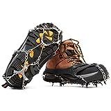 Hewolf - Crampones de Hielo Antideslizantes para 12 Dientes, con Pinzas de Acero Inoxidable, para Zapatos, Caminatas o Botas de Senderismo, Color Negro, tamaño Large