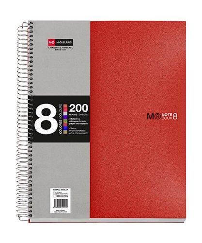 basicos-mr-43003notebook8colours-a5-200sheets-horizontal-polypropylene-red