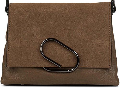 styleBREAKER borsa a tracolla con busta in scamosciato e fermaglio, pochette, borsa, donna 02012209, colore:Nero Marrone / Talpa