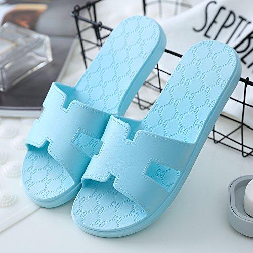 DogHaccd pantofole,I bagni sono freschi in estate donna sandali ciabattine stare a casa durante il periodo estivo e la vasca da bagno le coppie maschio piscina incantevole e raffreddare le pantofole Blu cielo4