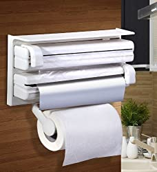 VALAMJI Triple Paper Dispenser For Cling Film Wrap Aluminium Foil & Kitchen Roll