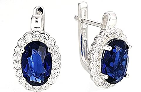 SaySure - Silver Stud Earrings Blue and White CZ Diamond