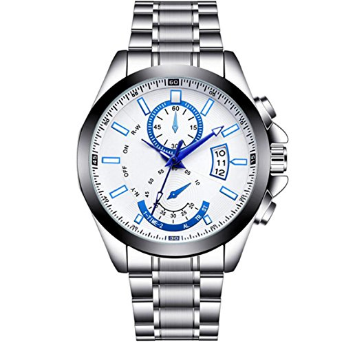 Männer Große Wählscheibe Stahl Nicht-mechanische Uhrwerk Wasserdicht Zeiger Kalenderuhr Shi Ying Uhr,White3-OneSize