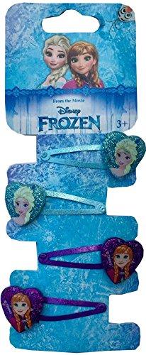Disney Frozen, Eiskönigin Haarschmuck - 4 Stück HaarKlammern, Haarspangen, glitzernses Motiv Elsa und Anna