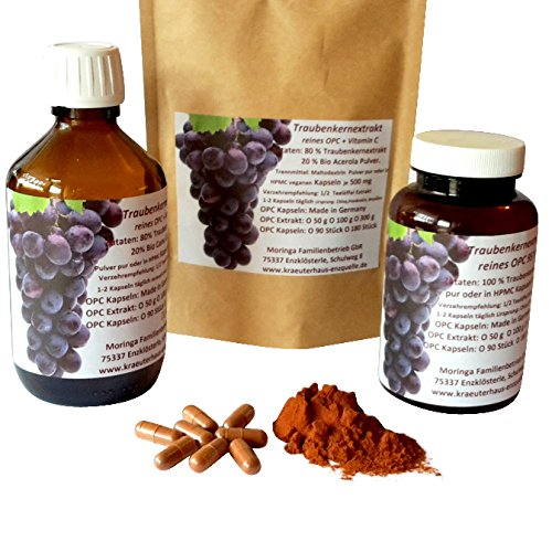 90 Kapseln 500 mg OPC 95 % Traubenkernextrakt plus natürliches Vitamin C Bio Camu Camu 100 % rein ohne Zusatzstoffe im Spar Pack