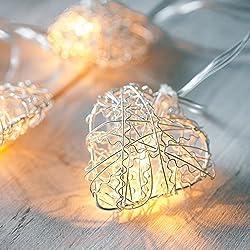 Guirnalda a pilas de 10 LEDs con corazones de malla plateada