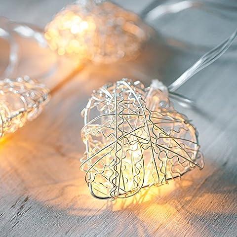 10 Warm White LED Metal Mesh Heart Battery Fairy Lights by Lights4fun