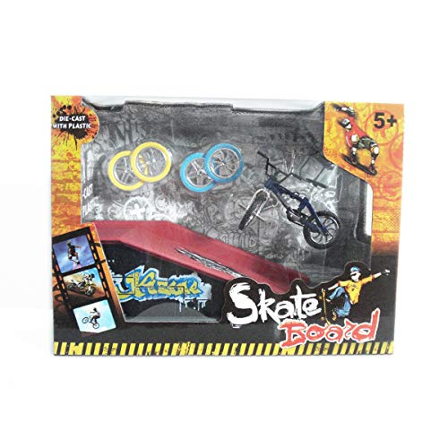 TECHSON Finger Bike Set, Miniature Skateboards Toy with Ramp, Creative Cool Table Game