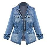 Supertong Damen Mantel Jeansjacke Einfarbig Retro Blau Washed Slim Fit Denim Jacke Tops Kurze Oversize Jeansmantel Frühling Herbst Winter Übergangsjacke