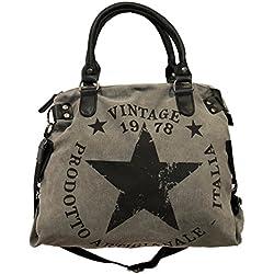James tyle26Star Bag Vintage Estrella Mujer Stamp Fashion Shopper-Bolso de tela, color Gris, talla Maße: L: 45cm H: 42cm B: 18cm