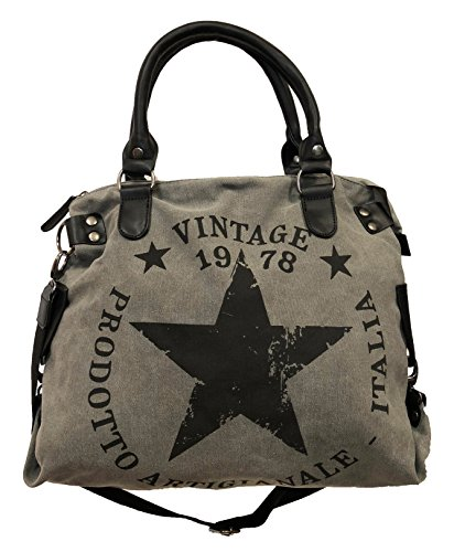 James tyle26 Star Bag Vintage Estrella Mujer Stamp Fashion Shopper - Bolso de tela, color Gris, talla Maße: L: 45cm H: 42cm B: 18cm