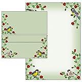 Rosenranken mit bunten Vögeln - Set - Briefpapier + Briefumschläge DIN lang ohne Fenster (25 Blatt Briefpapier + 25 Kuverts mit Mappe)