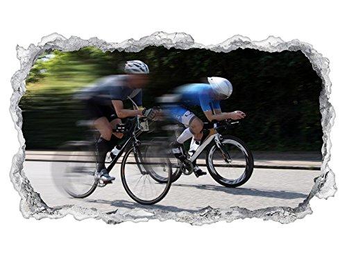 3D Wandtattoo Rennrad fahren Straße Fahrrad tour Wand Aufkleber Durchbruch Stein selbstklebend Wandbild Wandsticker 11N564, Wandbild Größe F:ca. 140cmx82cm