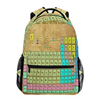 BIGJOKE Backpack, Periodic Table of The Elements Education Chemistry Large Capacity Casual Printed School Shoulder Bag Daypack Travel Laptop Women Adults Boys Girls