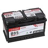 Accurat Autobatterie B85 Basic 12V 85Ah Kaltstartkraft, Starterbatterie Blei-Säure Ca-Technologie, hohe Startleistung geladen & wartungsfrei nach EN