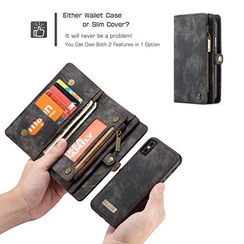 Fucaiqian iPhone X Luxus handgefertigte Trifold Leder Brieftasche Fall mit abnehmbaren Rückendeckel & Magnetverschluss & Card Slot & Zipper & Landyard (Color : Black) -