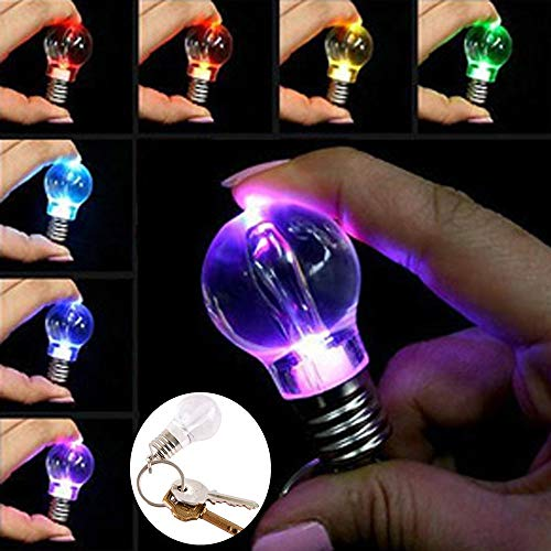 Gaddrt Mini-Schlüsselanhänger mit Schlüsselanhänger, 7 Farben, wechselnde LEDs, Mini-Glühbirne, Schlüsselanhänger - Stift G Spule