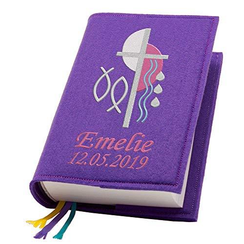 Evangelische Gesangbuchhülle Gesangbuch Kreuz 2 pink Filz mit Namen bestickt mittlere Ausgabe, Farbe:lila
