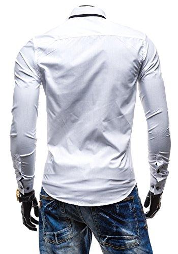 BOLF Langarm Herrenhemd UNI Hemd Figurbetont Freizeit Slim Fit 5755 Weiß