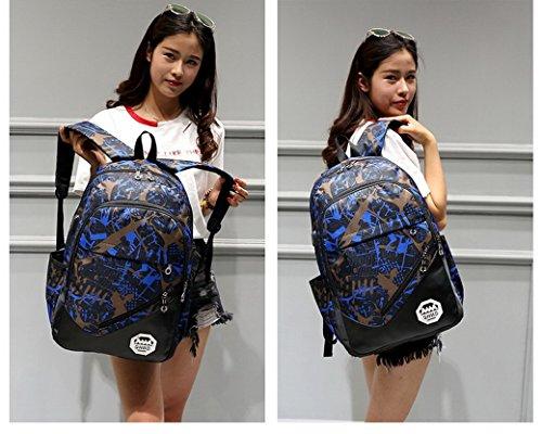ACMEDE Schulrucksack 3 Teiliges Schultasche-Set Top-Model Studentrucksack mit USB Anschluss INKL Schultertasche + Geldbeute + Mäppchen Blau