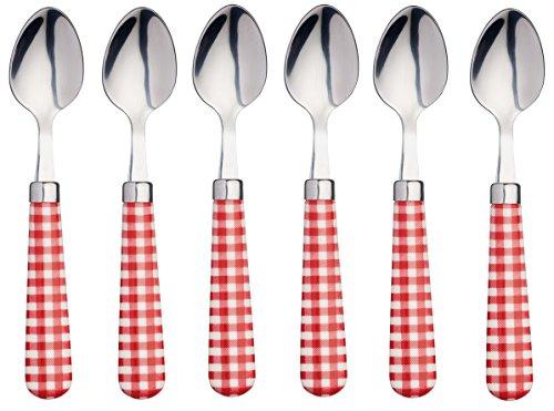 Kitchencraft coloured gingham-patterned cucchiaini, 15.5cm (15,2cm), set da 6pezzi, in acciaio inox, rosso, 15.5x 3x 2cm