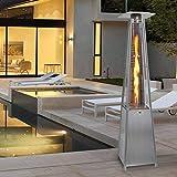 Costway 13KW Outdoor Patio Heater Stainless Steel Gas Flame Pyramid Garden W/ Wheel