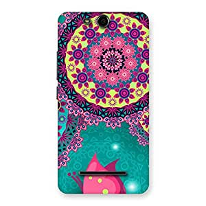 Stylish Vintage Round Pattern Multicolor Back Case Cover for Micromax Canvas Juice 3 Q392