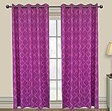 Elan cotton curtains Ikat Damask Purple ...