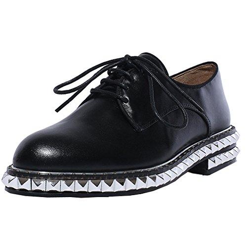 ENMAYER Femmes Nouvelle semelle en caoutchouc bout rond en cuir verni Rivets Talons bas Chaussures à lacets décontractées Noir