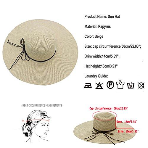 Sol Sombrero Sombrero de paja para mujer Wide borde playa sombrero verano  ... 0a248c4ce41