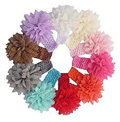 DREAMY Baby Girls Headbands with Beautiful Lace Flower Petal Headwrap 10pcs