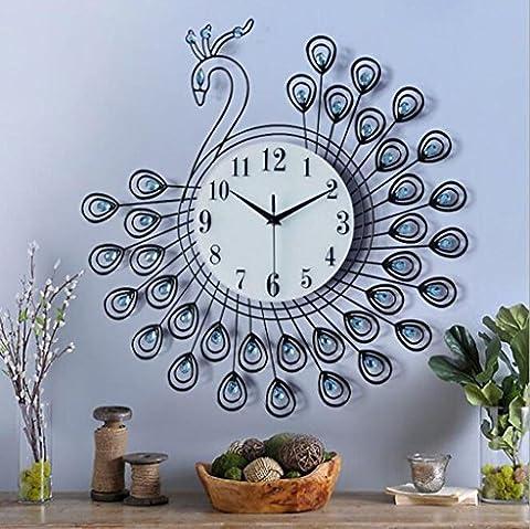 XY-QXZB Peacock Horloge en verre acrylique Matériau seul côté Chambre Salon Horloge murale
