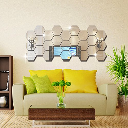 GJX-Pegatinas-de-pared-Caja-hexagonal-tridimensional-espejo-pared-calcomanas-para-decoracin-de-fondo-de-sala-espejo-pegatinas-pared-DecorIt-encompasses-12-small-pieces