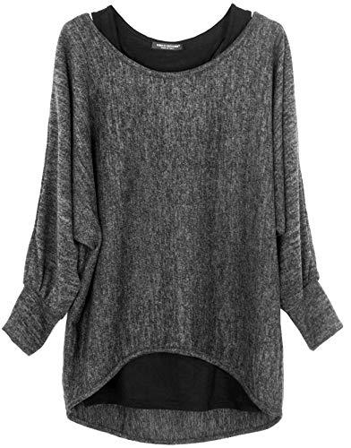 Emma & Giovanni - Damen Oversize Oberteile Tshirt/Pullover (2 Stück) (S/M, dunkelgrau)