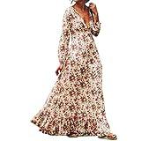 Frauen-Blumenkleid, Kingwo Frauen Retro- Druck Blumen-V-Ansatz Langes Hülsen-Abend-Partei-Kleid (XL, Weiß)