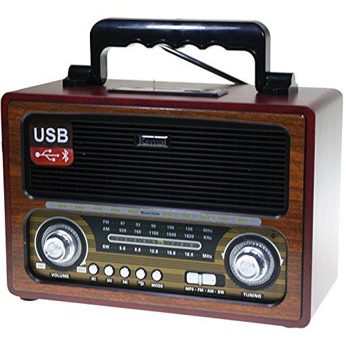 Radio estéreo con Bluetooth y Lector de USB y tarjetas de memoria SD/TF (Funcionamiento a red y pilas) Diseño Retro color Madera (27 x 19 x 12,5 cm)