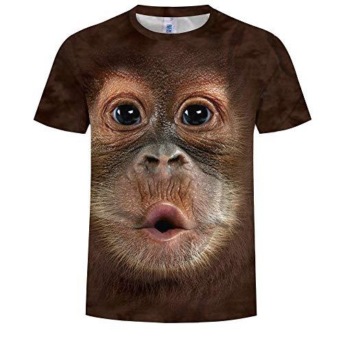 14EU-Haucalarm 3D T-Shirt, Kurzarm-T-Shirt Orang-Utan Animal Crewneck Grafik Lässig Bedruckte T-Shirts (Color : Brown, Größe : Large) (T-shirt Grafik Herren Crewneck)