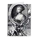 Anne Boleyn, engraved by Jacobus Houbraken,.. - Grußkarten (2er Packung) - 17,8x12,7 cm - Standardgröße - Packung mit 2 Karten - Art247