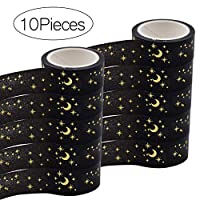 BHAHAI 10 Rolls Decorative Washi Tape, Black Washi Masking Tape Collection Set Wide Washi Tapes Decorative Craft Washi Paper Tape Sticky Stars and Moons Washi Tape for Scrapbooking DIY Gift Wrapping