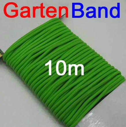 Mehrzweck Gartenband gummiert 10m Länge, Garten Haushalt Draht Band Schnur, grün (LHS)