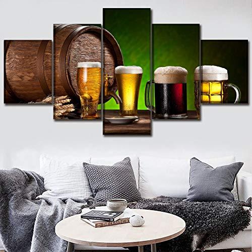 QWERGLL Leinwand mit 5 Feldern Leinwand Poster Wandkunst 5 Stück Lebensmittel Malerei Hd Drucke Alkohol Fass Und Bier Und Trinken Bilder Home Dekorative -