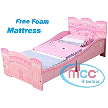 MCC Castle Princess Junior Toddler Kids Bed With Luxury Foam Mattress Made In England
