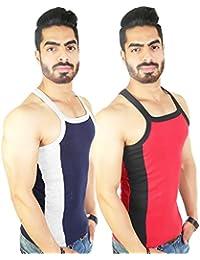Zimfit Men's Gym Vest 112(Navy_Red)