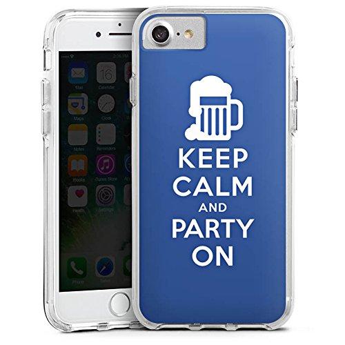 Apple iPhone 8 Bumper Hülle Bumper Case Glitzer Hülle Keep Calm Party Bier Bumper Case transparent