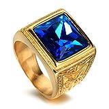 LANCHENEL Herren Titan Stahl Schmuck Weinlese Rot Saphir 24k Gold Ringe,Blau,Größe 59(18.8)