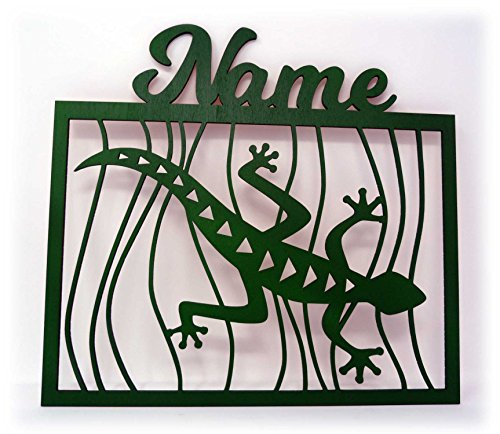 Schlummerlicht24 Led 3d Wand-Deko Gecko Eidechsen + Name Geschenk als Lampe für Wohn-Zimmer Schlafzimmer Wandtattoo (Grün) - Tattoo-fußmatte