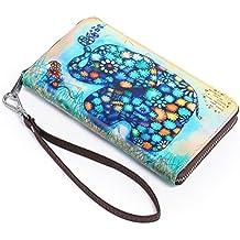 3157a7f71 APHISONUK Mujer Carteras Transportable Monedero de Cuero RFID Bloqueo Largo  con Cremallera Lindo - Cartera para